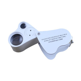 Wholesale Folding Lighted Magnifier - Dual Magnifier Jewelry Loupes 30x 22mm 60x 12mm9889 Magnifier Loupe Magnifying Glass With LED Light Folding Microscope Magnifiers Loupes