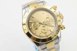 Wholesale Mechanical Golden Wristwatch - Luxury New Brand Limited Automatic Mechanical Golden Dial Mens Two Tone Stainless Steel Belt Siliver Case High Quality Men Wristwatch D9