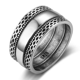 Wholesale Silver Wedding Ring Waves - 925 Sterling Silver Women Bali Rings with Double Laces Retro Wave Wide Rings Wedding Bands Jewelry