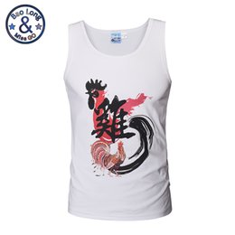 Wholesale Cock Big - 2017 summer new 3d print cotton made big rooster cock printed singlets basketball singlets white color cute running gym singlet t-shirt