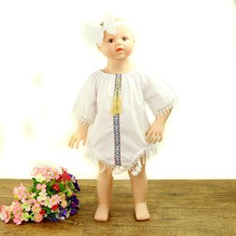 Wholesale Design Romper Infant - Latest Design Lace Tassel Infant Jumpsuits Toddler Short Sleeve Romper With Headband Baby Girls Comfortable Clothing