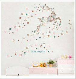 Wholesale Decoration Snowflake Window - Wholesale Christmas Snowflakes and Deer Wall Stickers Decal DIY Decoration Wall Stickers for Living Room Children's Room and Shop Windows