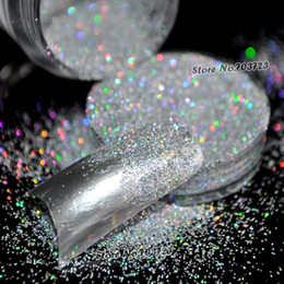 Wholesale Silver Glitter Eyeshadow - Wholesale-5g Box Laser Silver Rainbow Chrome Powder Acrylic UV Nail Art Glitter Dust Eyeshadow Makeup Nail Salon Manicure Decoration N32