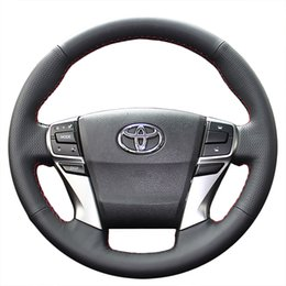 Wholesale New Leather Steering Wheel Cover - Steering wheel cover Case for Toyota MARK X REIZ 2013 new model Genuine leather DIY Hand-stitch Car styling