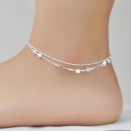 2019 catena sexy dei piedi della signora La catena sexy della signora Luckyg Ball braccialetti della spiaggia dei braccialetti della caviglia i nuovi argento placcati eleganti cavigliere di doppio strato per i monili del piede di stivale delle donne