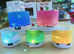 Wholesale Iphone Colored Usb - Mini Speaker Bluetooth Speakers LED Colored Flash A9 Handsfree Wireless Stereo Speaker FM Radio TF Card USB For iPhone Mobile Phone Computer