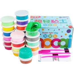 Wholesale Black Box Toys - 24 colors kit Light clay 20g one color pack with small box and Tools Drying Intelligent Plasticine Kids Slime toys Polymer clay 3C