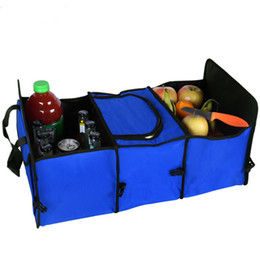 Wholesale Foldable Containers - Car Trunk Storage Container Bag Foldable Multi-function Pack Insulation Storage Bags 3 Layers Car Folding Storage Box Back Set