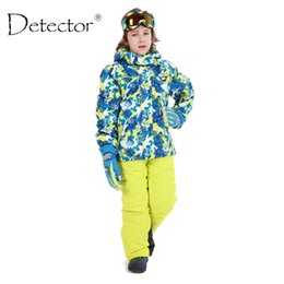 Wholesale Girls Ski Suits - Wholesale- 2016 Detector Boys Ski Set Children's Snow Ski Suits Boys Girls Outdoor Waterproof Windproof Winter Warm Sport Clothes