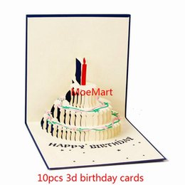 Wholesale Greeting Cards Print - 10PCS 3D Pop Folding Handcraft Kraft Birthday Greeting Invitation Card Hollow Greeting Cards Free Printing