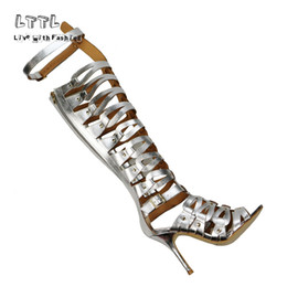 Wholesale Bonded Leather Belts - Plus size Summer FAUX LEATHER knee high womens gladiator sandals sexy hollow out belt buckle zipper stilettos heels shoes