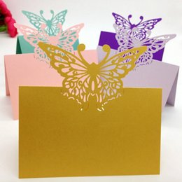 Wholesale Wedding Decorative Items - CDP022 butterfly lacer cut place card customized hollow place card wholesale party supplies wedding decorative items