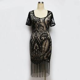 Wholesale Short Dress Fringes - Women Summer Dress Vintage Ladylike Fringe Tassel Flower Lace Dress Short Sleeve Sheath Pencil Office Bodycon Dre