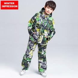 Wholesale Kids Thermal Pants - Wholesale- Winter Impression New Kids Ski Suit Outdoor Professional Windproof Waterproof Ski Jacket Pants Children Thicken Thermal Set