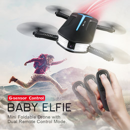Wholesale Mini Rc Electric Toy Helicopter - 2018 latest flying toy JJRC H37 Baby ELFIE Drone Mini Selfie Drone HD Camera Wifi FPV 720P camera G-Sensor Control RC Quadcopter Helicopter