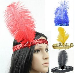 Wholesale Sequin Diamond Hair - Cute Feather Headband Women Fashion Jewelry Hair Accessories Flapper Sequin Headpiece Head Band mix Colors
