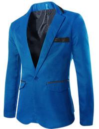 Wholesale Slim Suit Jacket Leather Sleeves - Wholesale- 2016 New Arrivals Men's fashion leather trim suit Autumn Men a buckle slim fit small casual suit jacket Outwear