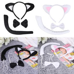Wholesale Headband Ears Tail Bow Tie - Wholesale- Cute Animal Tail & Ear Headband Bow Tie 3Pc Tail Party Little Cat Fancy Dress Costume For Christmas Halloween Carnivals Hot