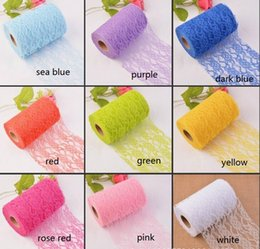 Wholesale Sash Lace Chair Wholesale - Skirt Chair Sash Bow Table Runner Lace Fabric Wedding Decorations WT050