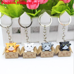 Wholesale Hot Plate Phone - Hot Cat Keychain Seek nurturing Cat Key Chain Creative Gifts Ring Key Holder For Bags Car Phone Decoration Keyring