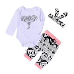 Wholesale Elephant Romper - 2017 ins autumn and winter baby 3pcs Baby Boy christmas sets elephant print Romper+geometry pants+Headband Bodysuits Outfits Clothing Sets