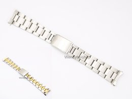 Wholesale Two Tone Luxury Watches - 19 20mm 316L Stainless Steel Two Tone Gold Silver Watch Band Strap Old Style Oyster Bracelet Hollow Curved End