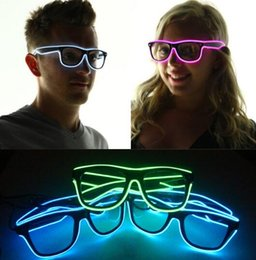 Wholesale Kids Party Wholesale Suppliers - LED Party Glasses Fashion El Wire glasses Birthday Halloween party Bar Decorative supplier Luminous Glasses Eyewear KKA2002