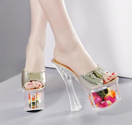 Wholesale Gold Shoes Chunky Heel - 18cm Adorable Floral transparant crystal platform thick ultra high heel peep toe slipper shoes bride wedding shoes sandals 2017