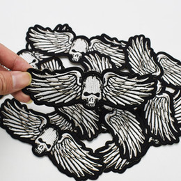 Wholesale Embroidery Garment - 1PCS Punk Wings Skull Badges Patches for Motor Clothing Iron on Transfer Applique Patch for Garment Jacket DIY Sew on Embroidery Badge