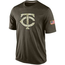Wholesale Mix T Shirts - new styles of Men's Minnesota Twins Olive Salute To Service KO Performance T-shirt,free shipping,accept any size and mix order
