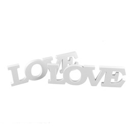 Wholesale wooden stand christmas decorations - White Color ''LOVE '' Wooden Letters Wedding Decoration Home & Garden table sign wedding wooden decor Wooden Standing Letters Love Sign