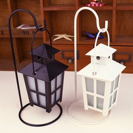 Wholesale Candles Containers - Glass Cover Craft Square Candle Holders Vintage Wedding Candle Containers White & Black Antique Candlestick Hanging Light Decor