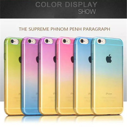 Acheter en ligne Étuis transparents pour iphone 4s-I7 / Plus Étuis pour téléphone portable Fundas pour iPhone 7 Plus 6 6S 5 5S SE 4 4S Housse Soft TPU Silicon Transparent Rainbow Gradient Case fu
