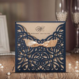 Wholesale Elegant Invitation Paper - 2017 New Arrival Hollow Blue Flora with Ribbons Laser Cut Wedding Invitations Elegant Birthday Party Kraft Paper Craft Greeting Card CW6179B