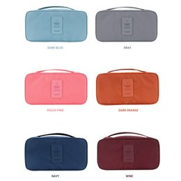 Wholesale Portable Bra Bag - 26*13*12Cm Multi Functional Bra Bags Portable Nylon Toiletry Bag Waterproof Separable Underwear Pouch Bag Six Colors Available