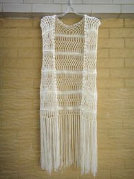 Wholesale Crochet Vest Xl - Crochet Vest With Fringe Women Hippie Festival Top Beach Bikini Cover Up