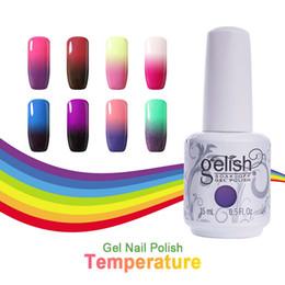 Wholesale chameleon nail polish - Chameleon Temperature Color Change Nail Art Soak Off UV Gel Polish 48 Colors Base Top Coat 10Pcs Lot