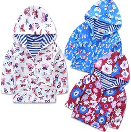 Wholesale Childrens Jackets Coats - Wholesale ins Girls Childrens Hooded Outwear Clothing Cotton Butterfly Flower Hoodies Long Sleeve Tench Coats Girls Kids Jackets Clothes