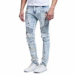 Wholesale New Jeans Designs For Men - Fashion Men Jeans Design New Biker Runway Hiphop Slim Jeans For Men Cotton Good Quality Motorcycle Jeans
