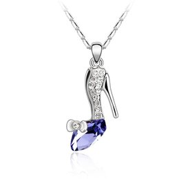 Wholesale High Heels Swarovski Crystals - fashion brands jewelry for grils crystal high-heeled shoes pendant necklace made with Austrian crystals from Swarovski for women gift