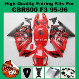 Wholesale 1996 Honda Cbr F3 Fairings - 9Gifts fairing kit for Honda CBR600 F3 1995 1996 CBR 600 F3 CBR-600 F3 95 96 fairings bodywork red black