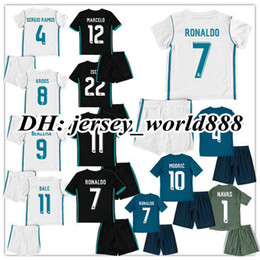 Wholesale Black Shirts Boys - 17 18 kids Real madrid Home away 3RD soccer Jersey Kits RONALDO ASENSIO MODRIC BALE RAMOS ISCO NAVAS KROOS BENZEMA child Football Shirts