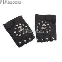 Wholesale Punk Gloves Men - Wholesale- PAZOMA UW27 Punk Handmade Gothic Motorcycle Biker Fingerless Leather Pair Glove Skull with STUD Chain
