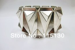Wholesale Pyramid Spike Bracelet - Wholesale- New Arrivals Gothic Silver Plated Pyramid Studs Stretch Bracelets For Men Rock Punk Metal Spike Wrap Cuff Bracelets Men Jewelry