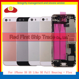 Wholesale Iphone Back Full Housing - For iPhone 5S Full Housing and 5S Like SE Middle Frame Bezel Chassis Back Full Housing Battery Door Rear Cover Body With Flex Cable