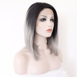 Wholesale Short Gray Wigs - Short Gray Straight Dark Roots Ombre Grey Lace Front Wig Bob Heat Resistant Synthetic Hair Wigs for Women Side Parting