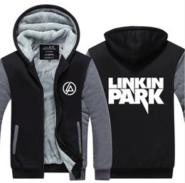 Wholesale Thicken Size Coat - Wholesale- 2017 USA SIZE Men Women Linkin Park Adult Thicken Hoodie Zipper Sweatshirts Coat Jacket