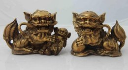 Wholesale Lion Drawings - Chinese-Feng-Shui-Copper-brass-Protection-beast-Evil-Door-Fu-Foo-Dog-Lion-Pair Chinese-Feng-Shui-Copper-brass-Protection-beast-Evil-Door