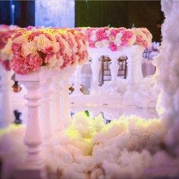 Wholesale Table Runners Europe - Europe White Roman Column Fence Plastic Aisle Runner Fences Wedding Flower Stands for Wedding Welcome Area Decoration Photo Booth Props