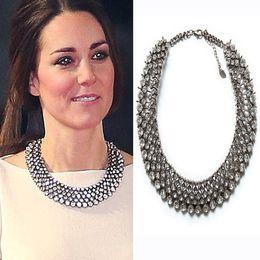 Wholesale Kate Middleton Jewelry - Wholesale-2016 New Kate Middleton necklace necklaces & pendants fashion luxury choker design crystal pendant necklace statement jewelry